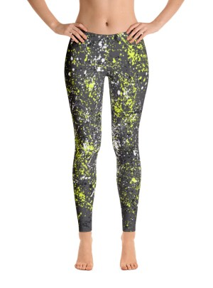 Paint Splatter Leggings – Yellow, Black and White