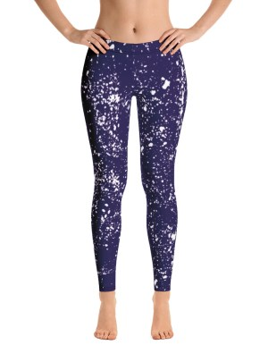 Paint Splatter Leggings – Blue and White