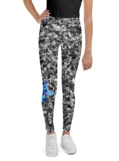Grey Camo with Blue Flower – Youth Leggings