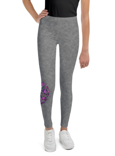 Grey Cross-Stitch with Pink Floral – Youth Leggings