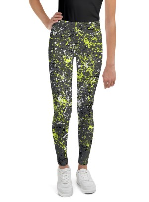 Paint Splatter Youth Leggings – Yellow, Black and White