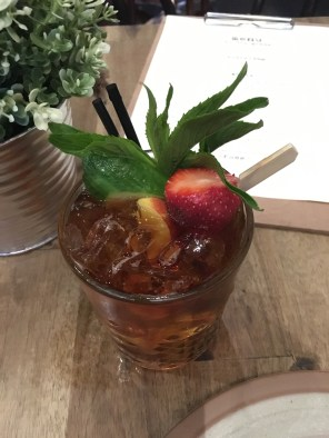 A beautiful Pimm's cocktail paired with dinner.