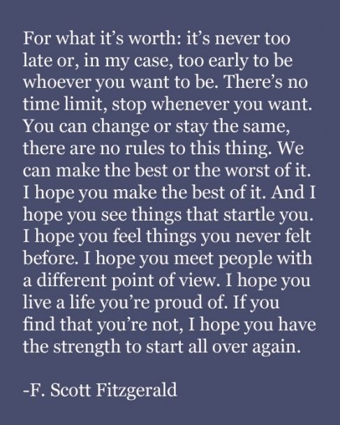 the strength to start all over again