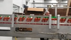 Rolling bottles on the product line