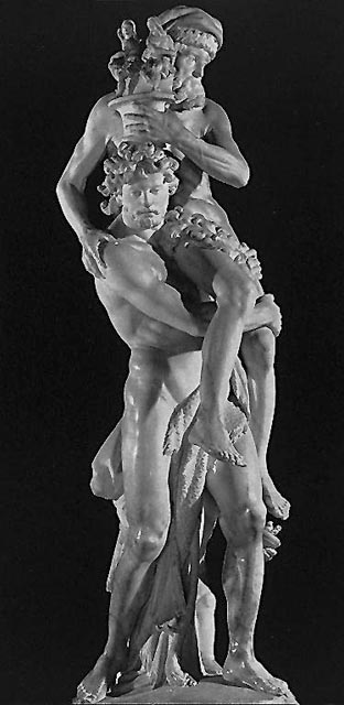 Eneas cargando con su padre (el pasado) y su hijo (el futuro) en la huída de la ciudad de Troya.