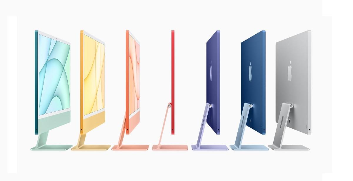 iMac 2021 七款顏色:紅、橙、黃、綠、藍、紫、銀色
