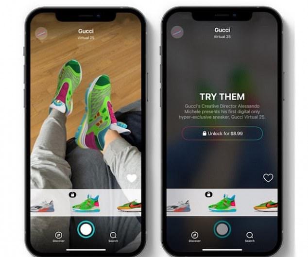 Gucci這次與白俄羅斯時裝平台合作開發的運動鞋可於 Gucci 及 Wanna Kicks 的 AR App 上購入並「穿上」,要價分別是 8.99美元(約港幣70元)及 12.99 美元(約港幣101元)。