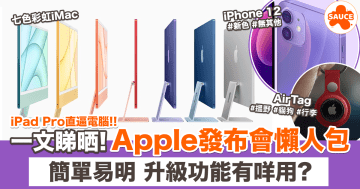 【Apple發布會懶人包】5分鐘睇晒 iPhone 12新色//七色 iMac//5G iPad//全新 AirTag