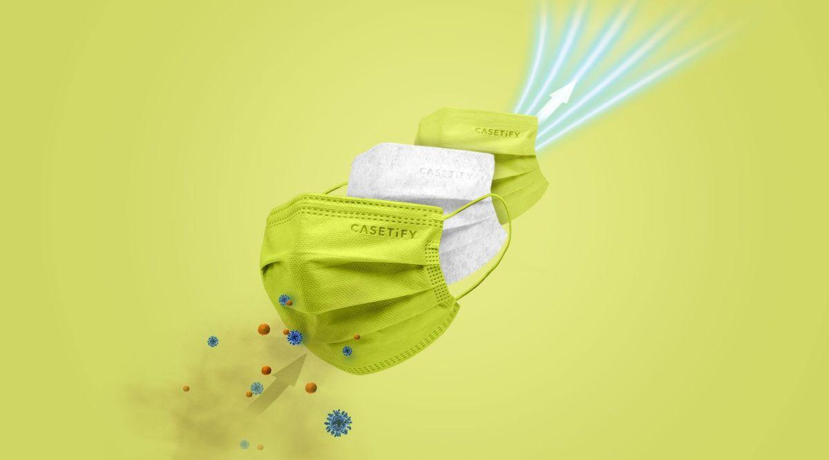 CASETiFY 口罩; 7 色口罩過濾超過 98% 既細菌同空氣微粒、防護性能為最高級別的BFE、PFE、VFE>99%。