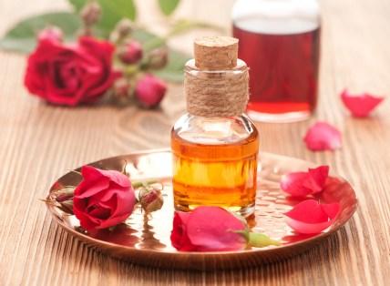 Bottles rose essential oil
