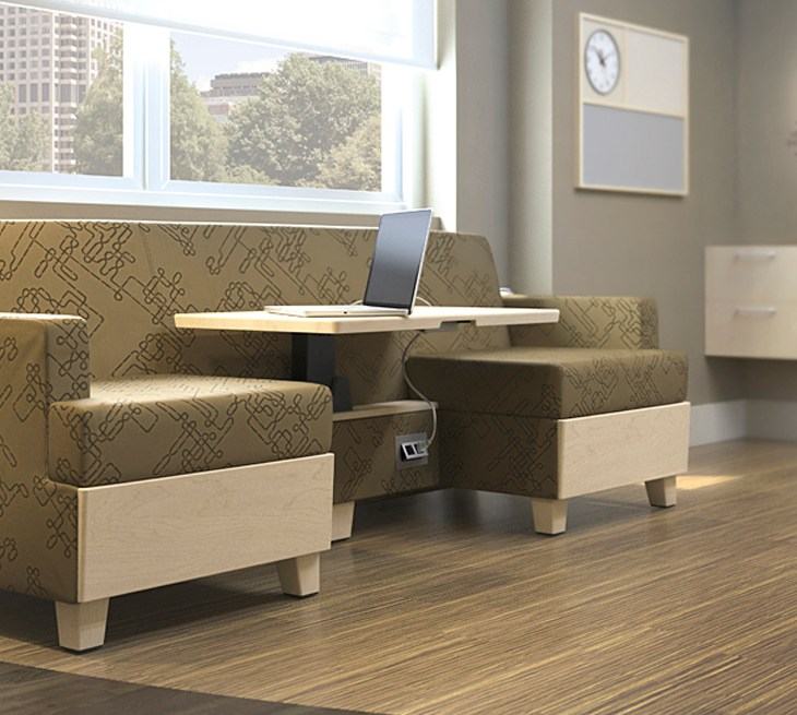 Wieland sleeptoo sofa in patient room with power