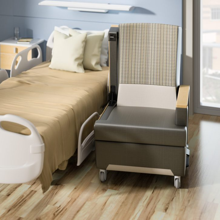 Wieland accord tansfer arm recliner in patient room