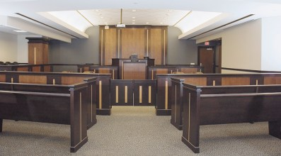 Custom Wood bench, woodworking, jury box, raila nd judges bench