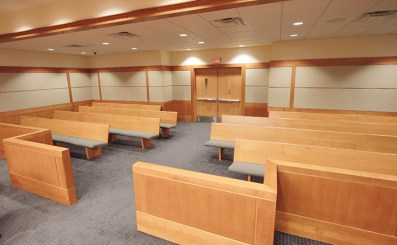 Sauder Courtoom Custom Benches and gallery rail