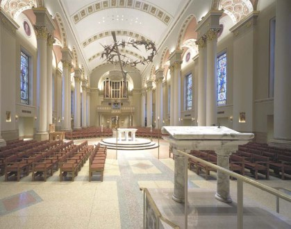 Sauder Wroship Oaklock chairs in beautiful church