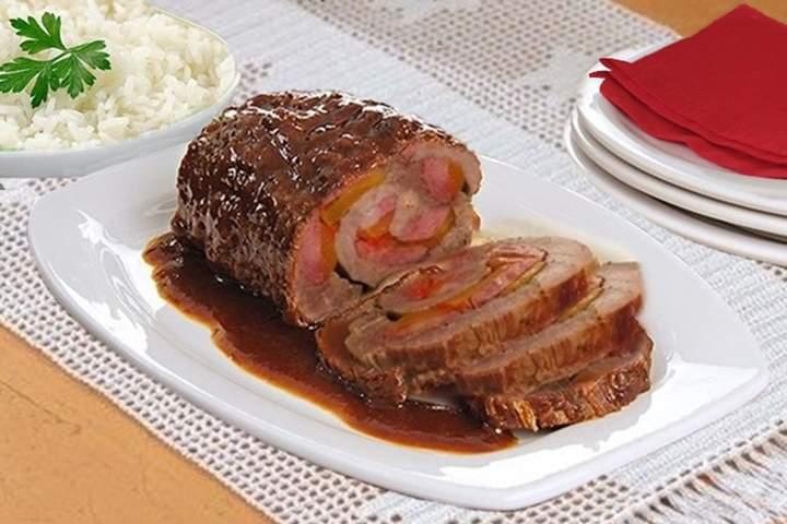 Carne Assada Recheada com Linguiça