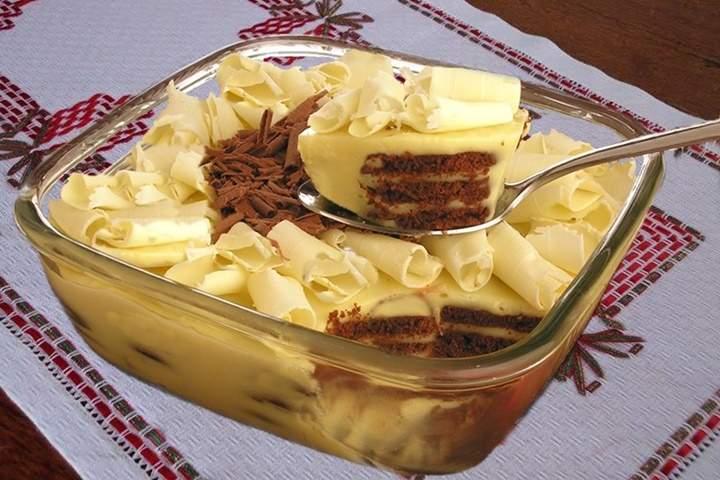 Pavê-Mousse de Chocolate Branco