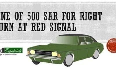 Fine of SR 500 on Right turn at Red Signal in Saudi Arabia-SaudiExpatriate