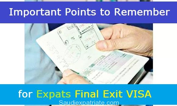 Important Points for Expats to Consider for Final Exit VISA-SaudiExpatriate.com