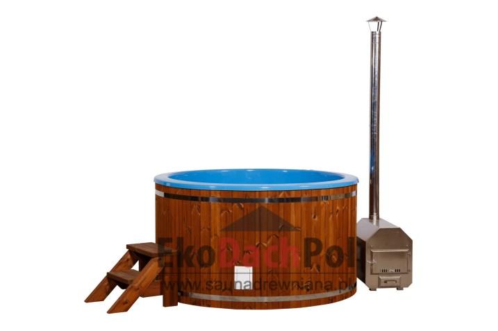 Blue fiberglass hot tub with external heater_2