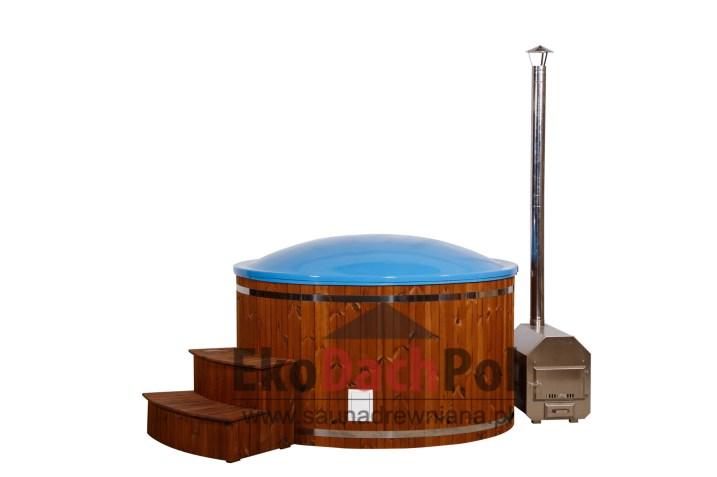 Blue fiberglass hot tub with external heater_5