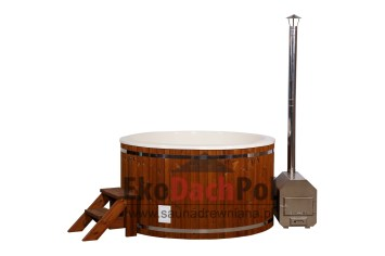 White fiberglass hot tub with external heater_2