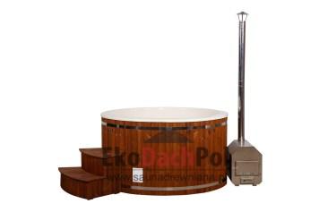 White fiberglass hot tub with external heater_4