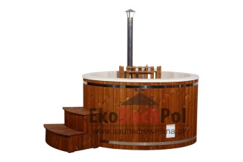White fiberglass hot tub with internal heater_4