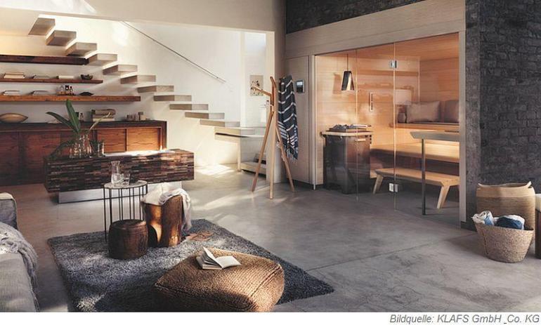 Die Sauna AURA ist geprägt von wohliger Exklusivität und optischer Weite