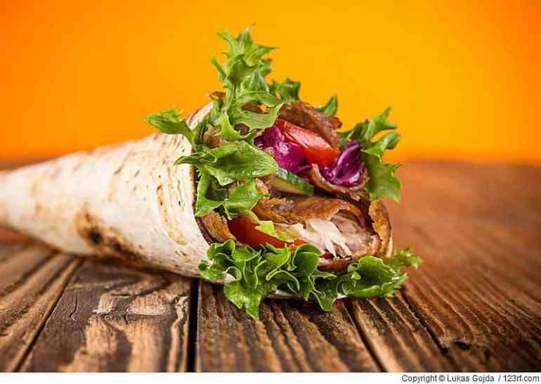 Nahaufnahme von Kebab-Sandwich