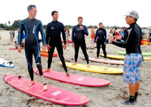 Amputee participants learn to surf at the 2009 Military Amputee Advanced Skills Training