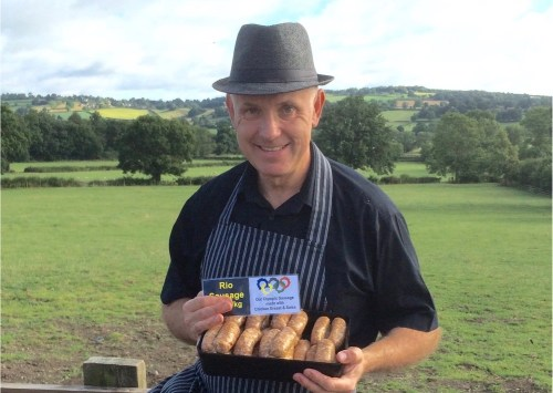 Simon Hollis, butcher at Croots Farm Shop with the Rio Sausage