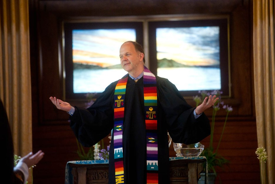 Rev. Paul Mowry leads a Sunday service at Sausalito Presbyterian Church in Sausalito