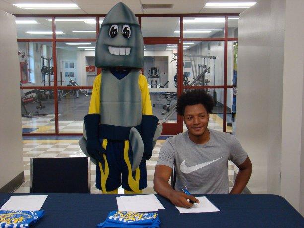 rocket mascot and young black man