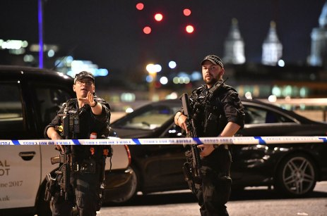 """Incident at London Bridge. Armed Police officers on London Bridge as police are dealing with a """"major incident"""" at London Bridge. Picture date: Saturday June 3, 2017. See PA story POLICE Bridge. Photo credit should read: Dominic Lipinski/PA Wire URN:31559198"""