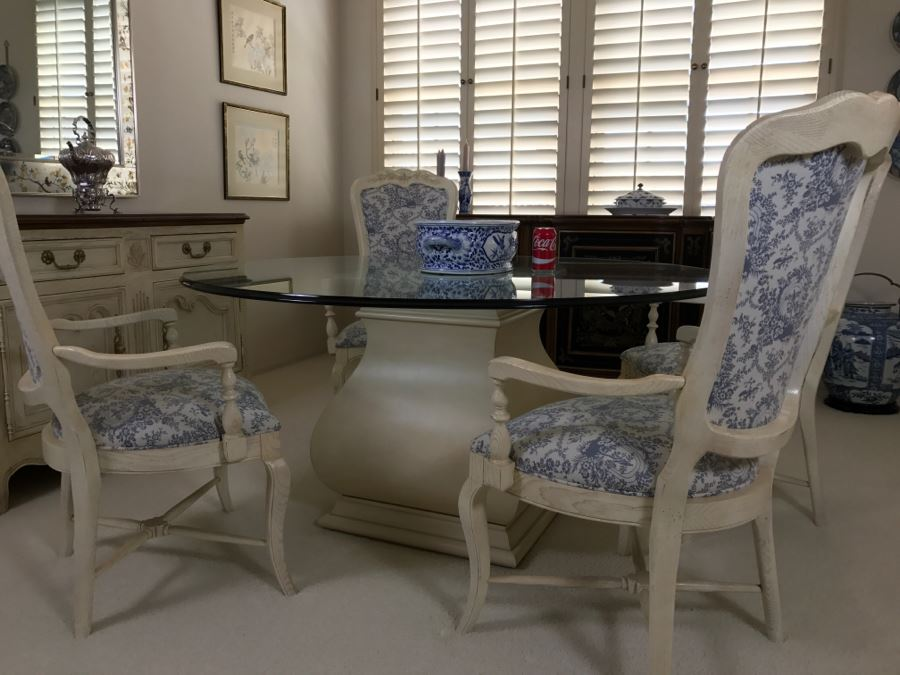 Beautiful Set Of 4 Century Furniture Blue And White