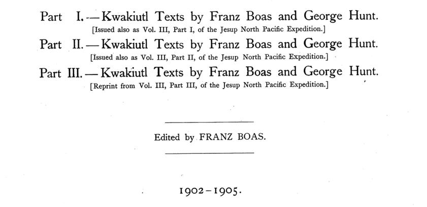 Kwakiutl texts