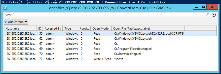 Get open files on a remote server with powershell
