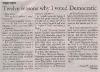 Twelve Reasons That I Voted Democrat