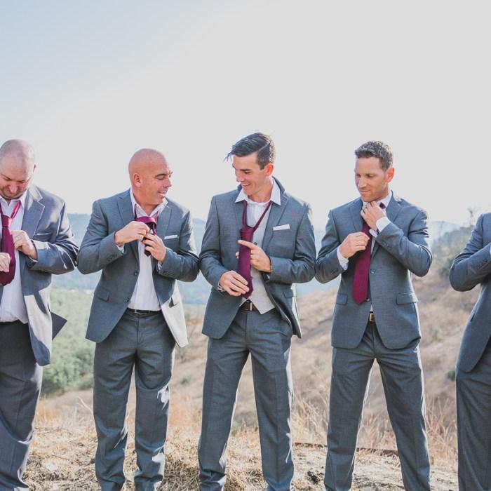 Groom and groomsmen at destination wedding