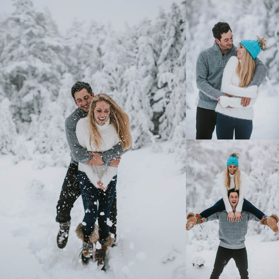 Stratton Vermont winter engagement session
