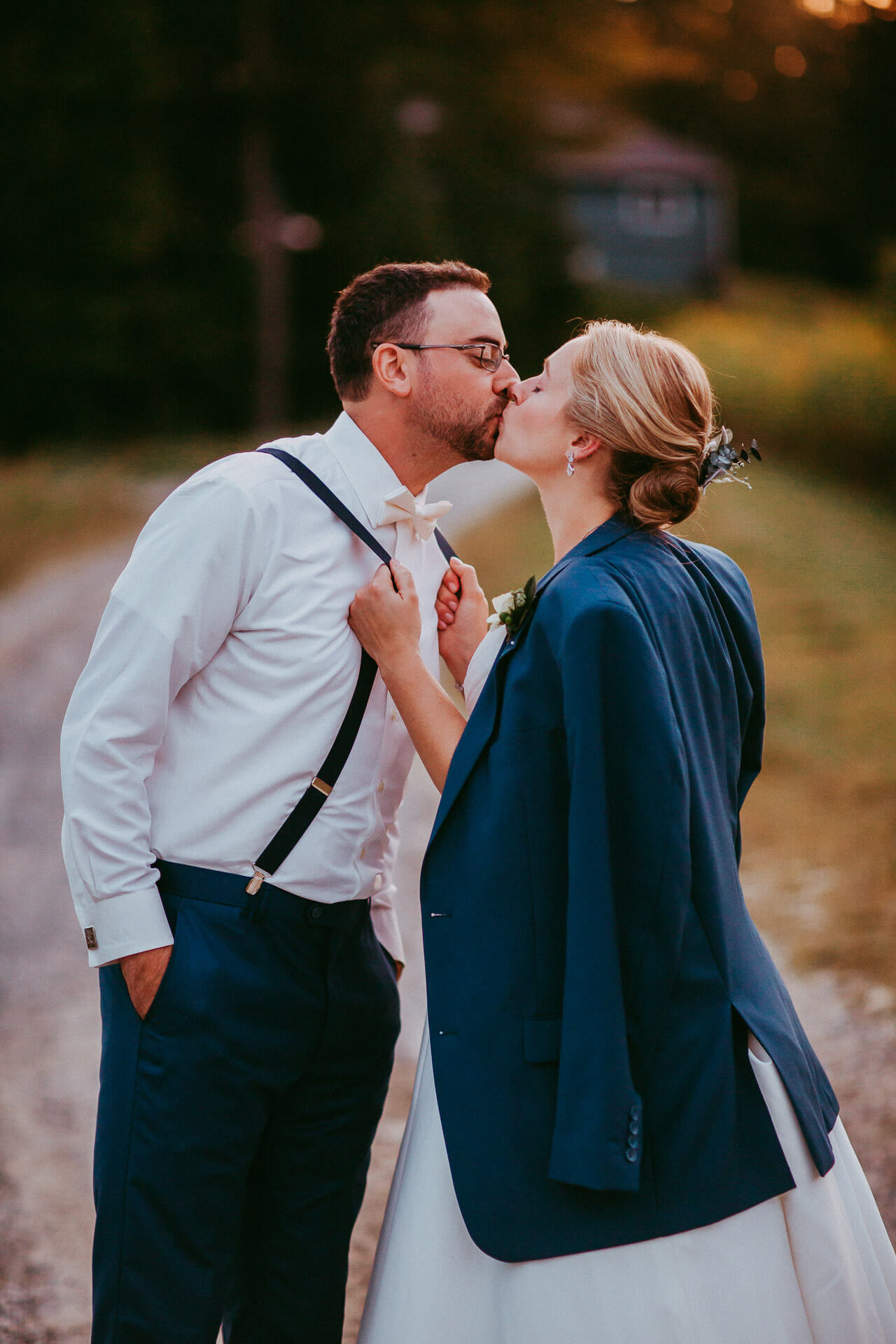 Bride and groom kissing in Vermont
