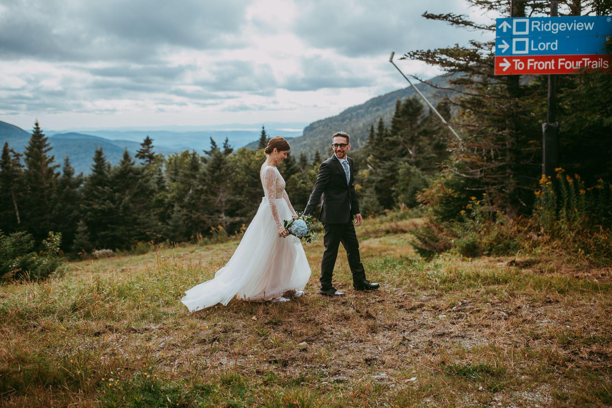 Mt Mansfield Wedding Bride and Groom Walking