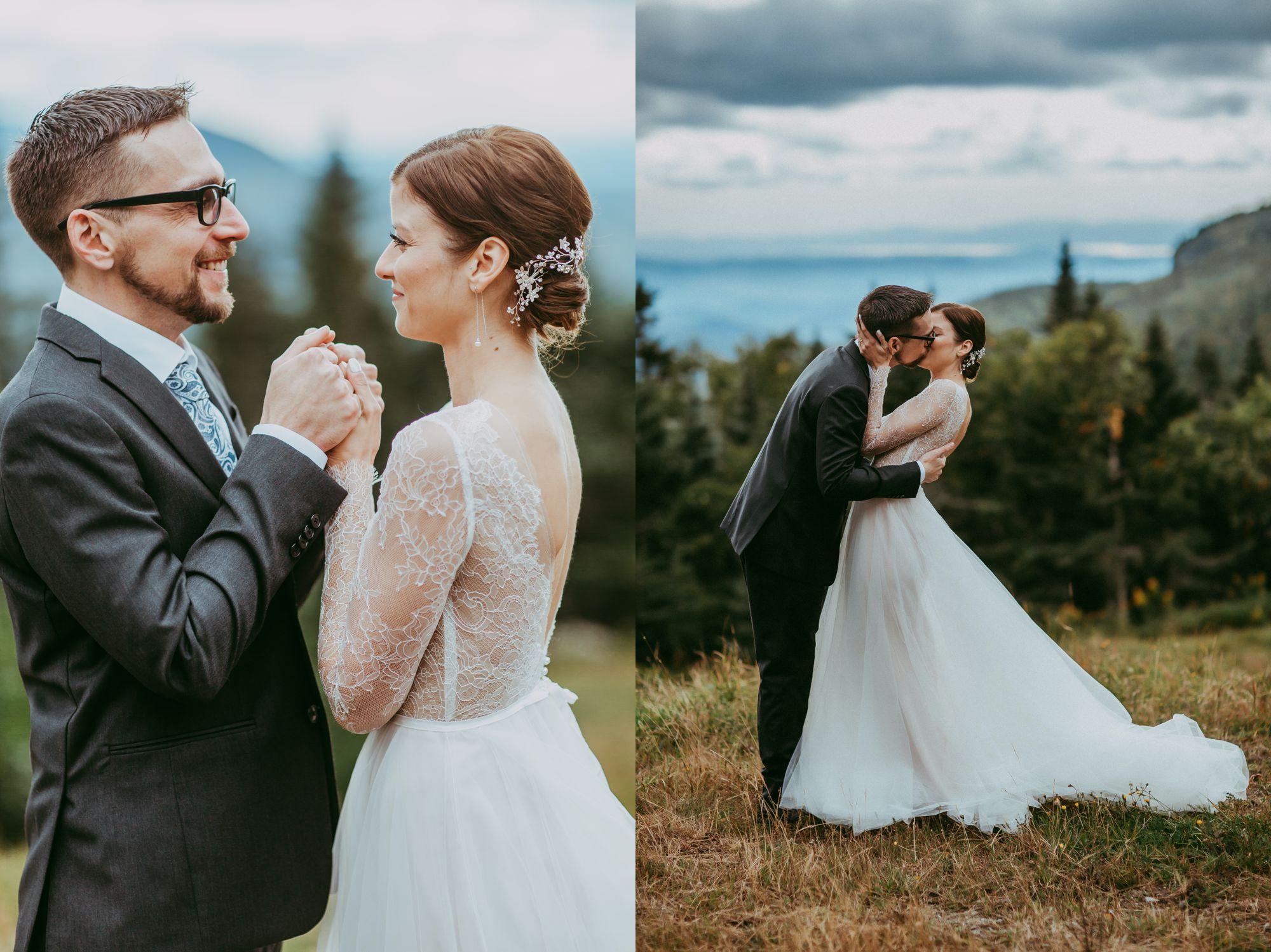 Mt Mansfield Wedding Bride and Groom Kissing