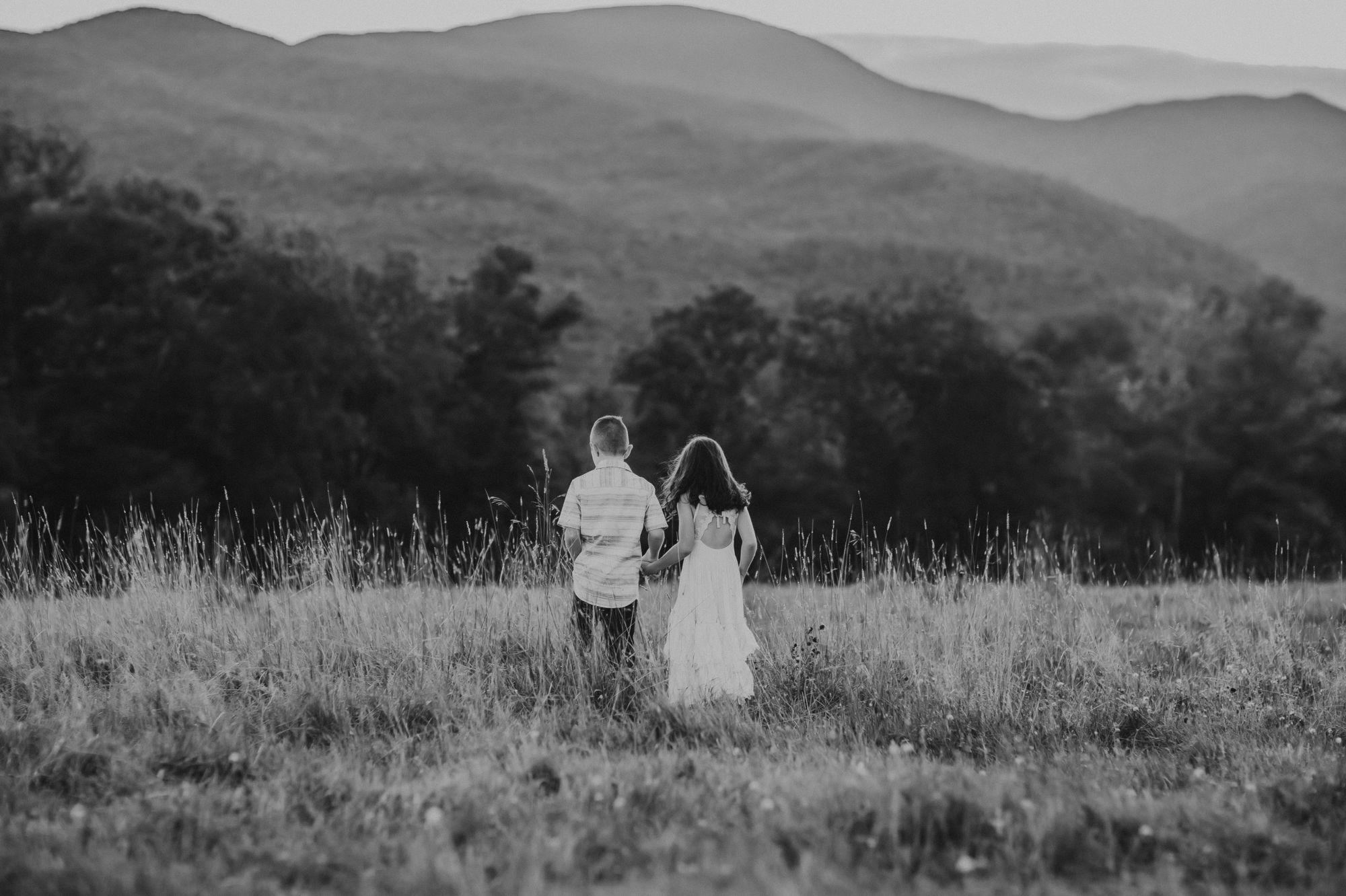 Siblings walking Trapp Lodge