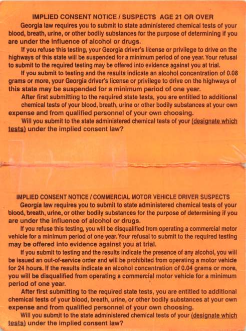 Georgia Implied Consent Notice Inside Card