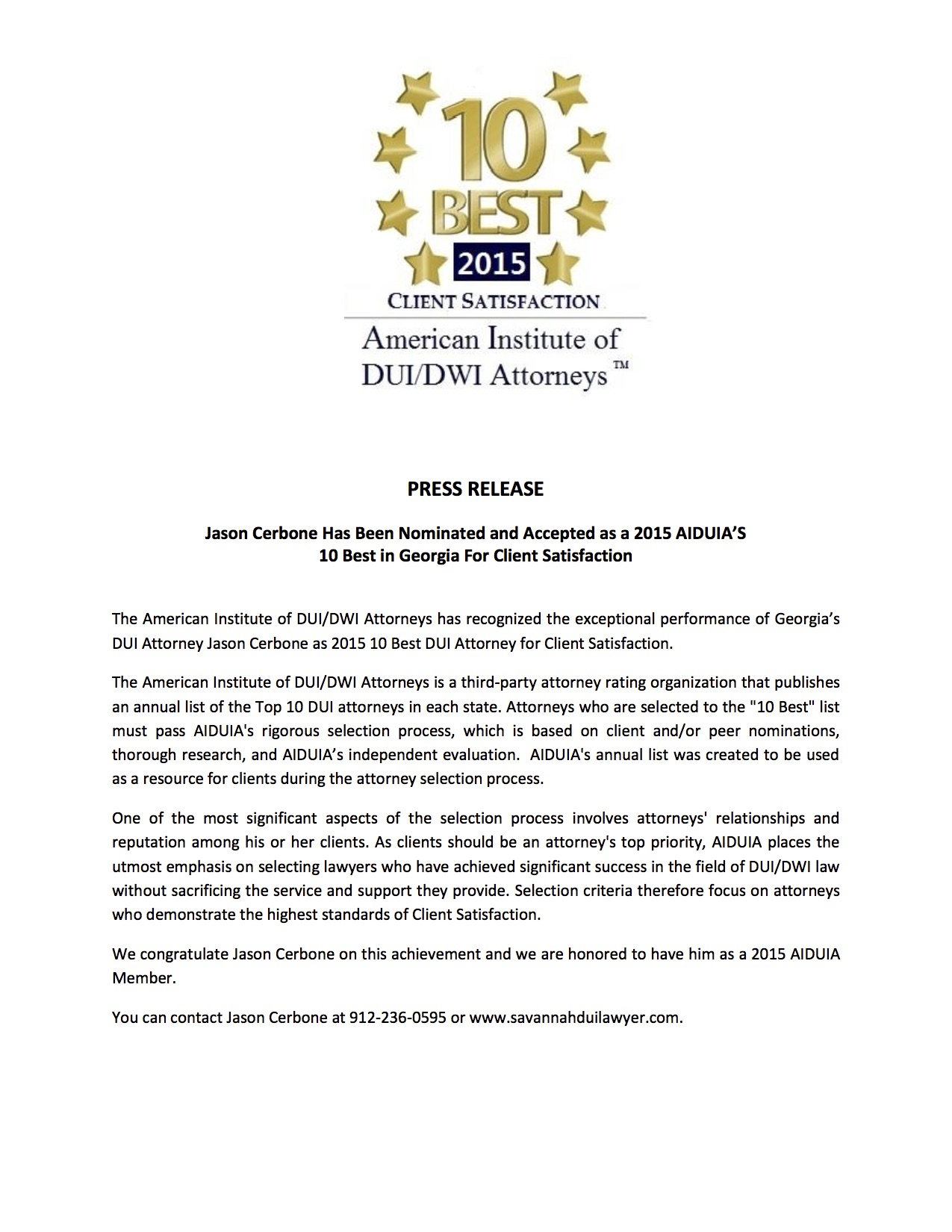 American Institute DUI Attorneys Press Release Jason Cerbone DUI Lawyer