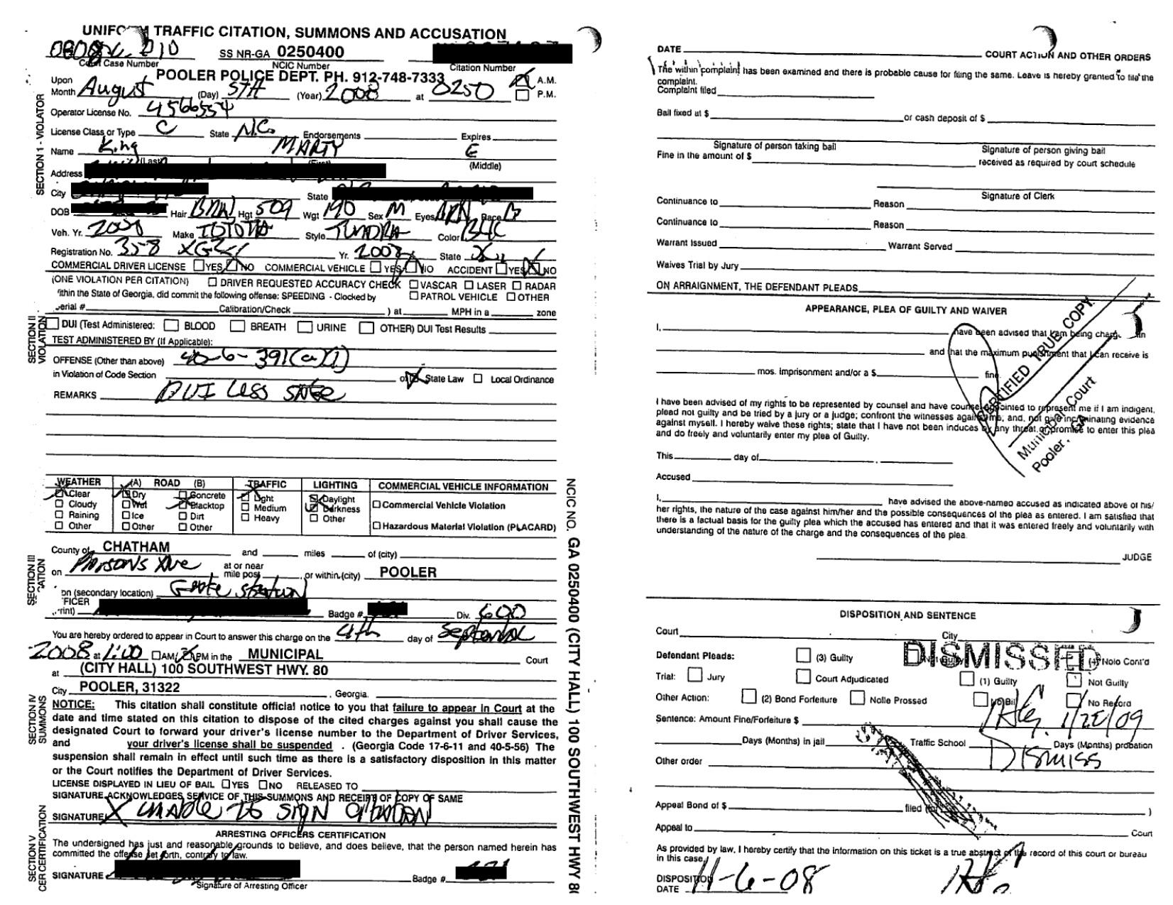 Bail Bondsman's DUI Dismissed