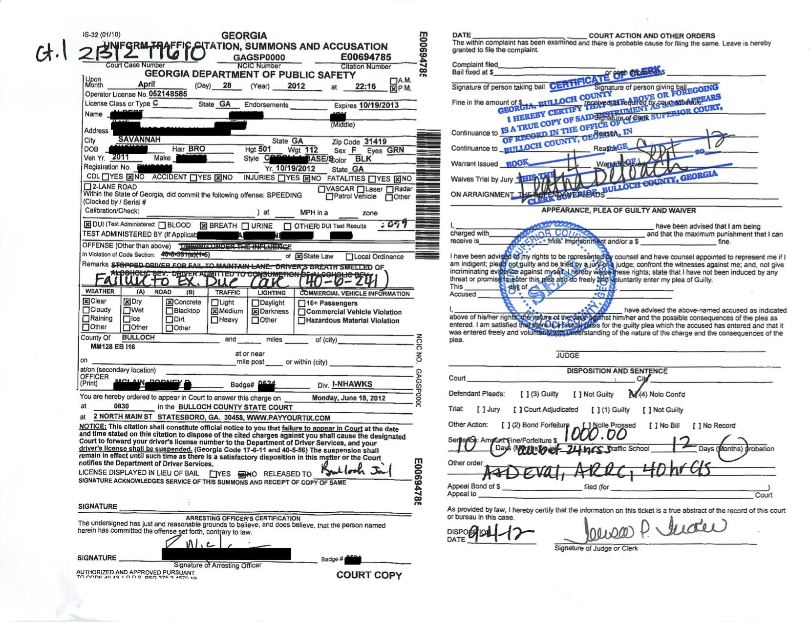 DUI .108 dropped in Statesboro Georgia for Veterinarian student in the Bulloch County Superior Court