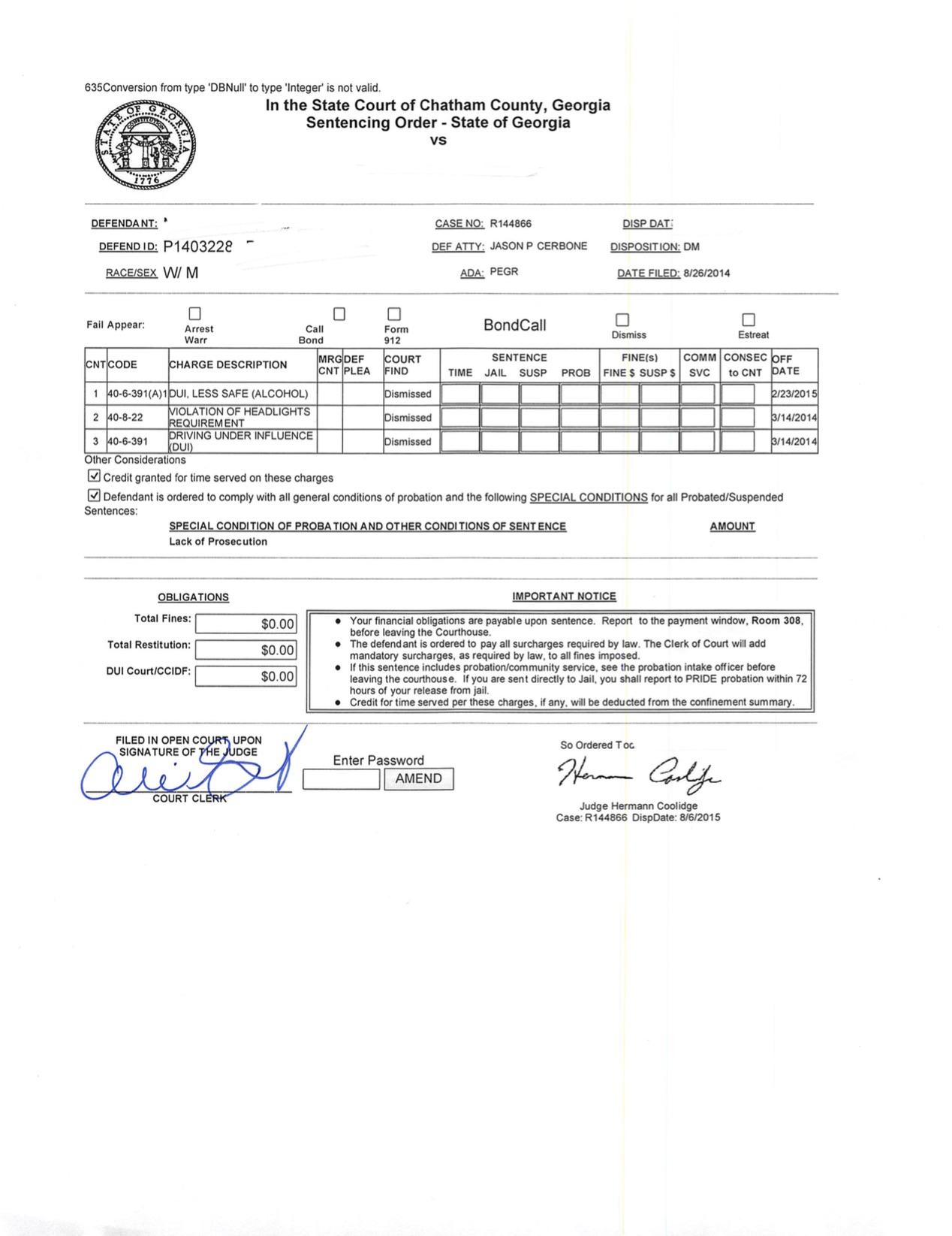 DUI Dismissed at Motion Hearing - Jason Cerbone DUI Lawyer